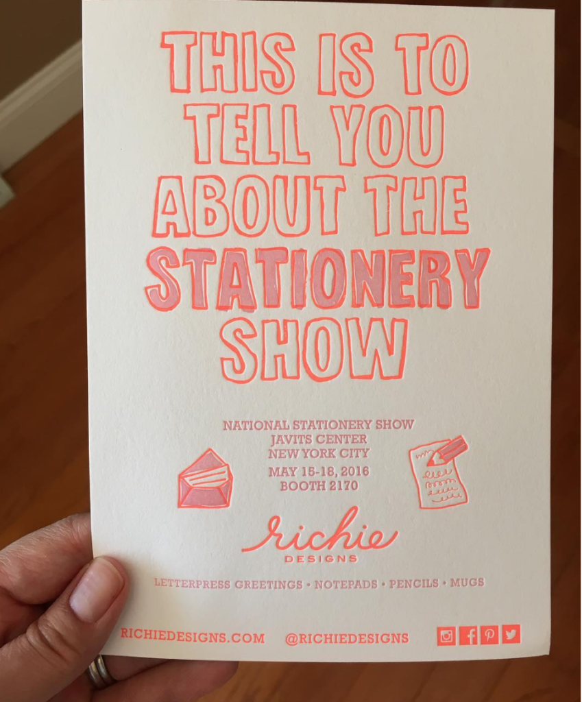 Richie Designs 2016 National Stationery Show invite